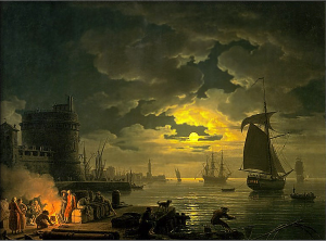 Claude Joseph Vernet: Entrance to the Port of Palermo by Moonlight, 1769.