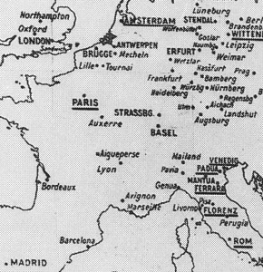 """Aby Warburg, """"Mnemosyne-Atlas"""", 1924-29, Board A, 1926 (Detail: """"Die Wanderstrassenkarte des Kulturaustausches zwischen Norden-Süden, Osten-Westen"""")"""