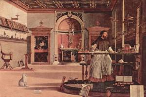 Carpaccio: Jerome in his Study, ca 1502-1507, Scuola di San Giorgio degli Schiavoni, Venice.