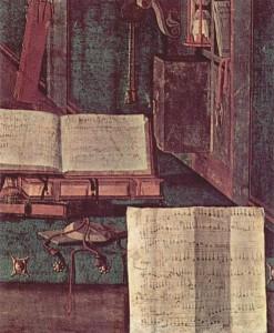 Carpaccio: St. Augustine in his Study, ca 1502-1507, Scuola di San Giorgio degli Schiavoni, Venice - detail.
