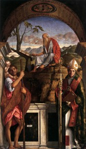 Giovanni Bellini: The Saints Christopher, Jerome, and Louis of Toulouse, 1513, San Giovanni Grisotomo, Venice.