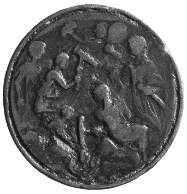 This photograph from the Warburg Institute Photographic Collection, shows a modern medallion. The design on it appears to depict mint workers strikig coinage and was possibly inspired by Roman coins with images of minting activity struck onto them.