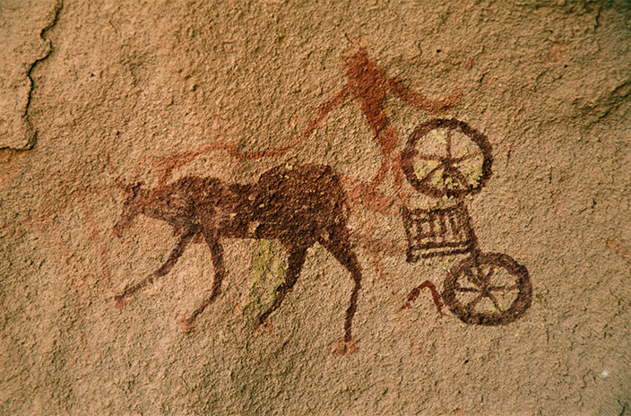 A rock-image of a charioteer from Libya, similar to that dubbed by Barth the 'Garamantian Apollo'.