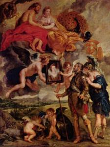 Peter Paul Rubens: The Presentation of the Portrait of Maria de Medici, Oil on Canvas, 1622, Musée du Louvre.