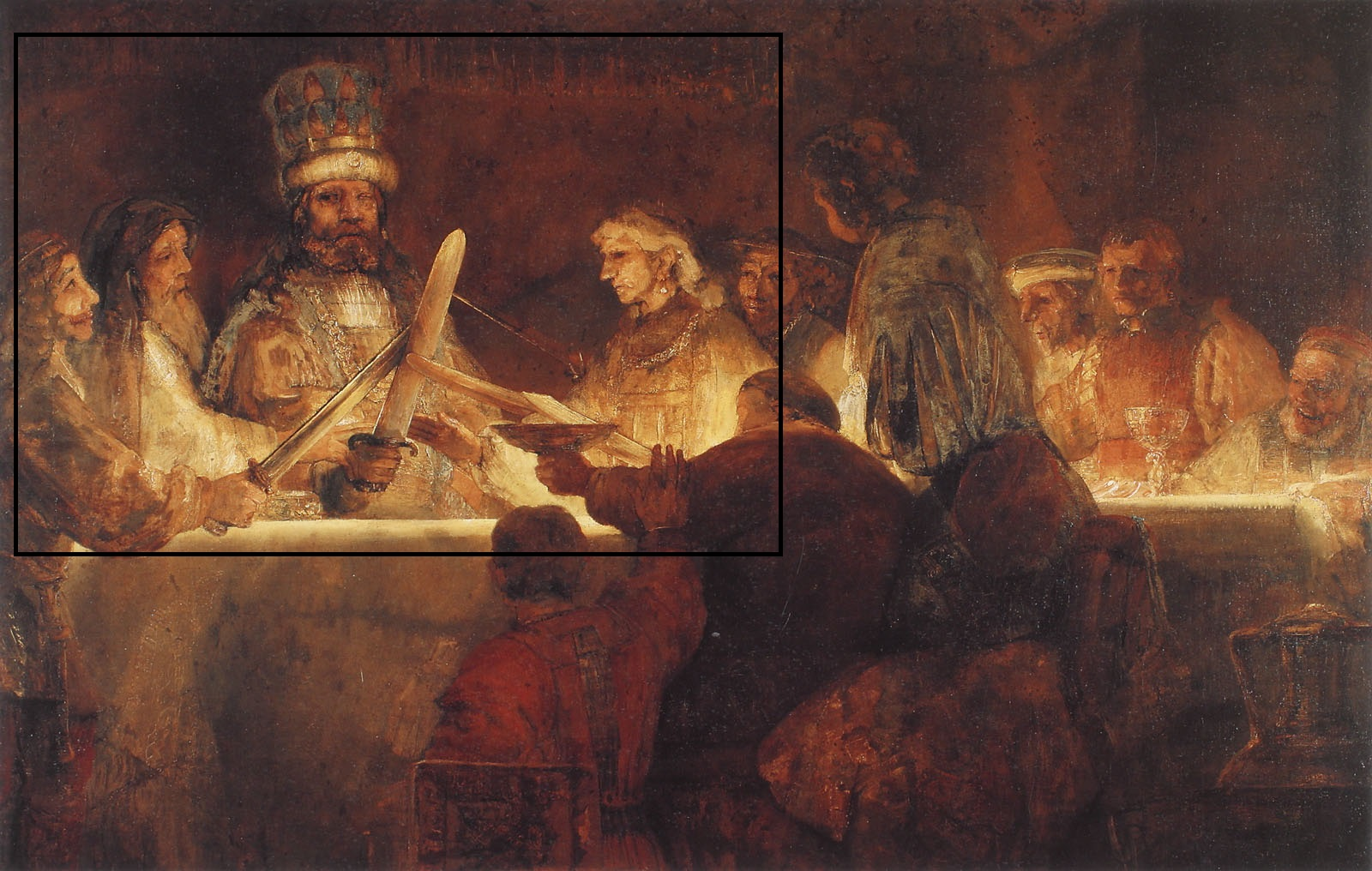 Reproduction of Rembrandt's 'Claudius Civilis', now hanging in the Warburg Institute. The highlighted section was the part of the image which moved Aby Warburg to commission this copy.