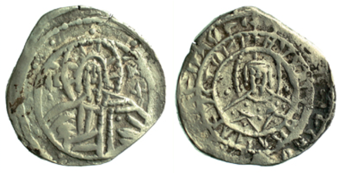 Silver half-hyperperon of John VIII Palaiologos. That is the emperor on the left. Honest! (Barber Institute of Fine Arts B6478)