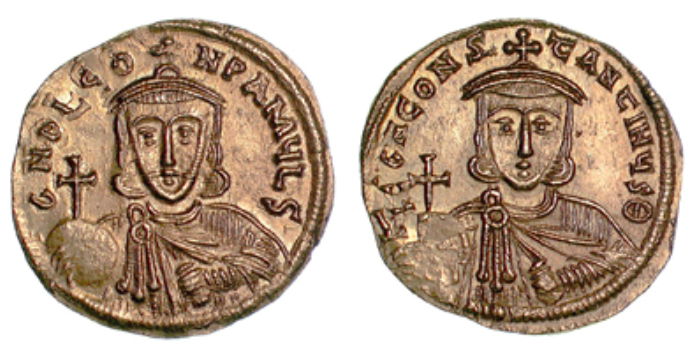 Gold solidus of Leo III and Constantine V (Barber Institute of Fine Arts B4510)