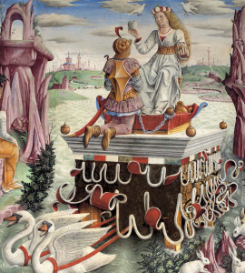 Francesco del Cossa: April, detail, fresco, 1468-70, Salone dei Mesi, Palazzo Schifanoia, Ferrara