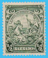 1/2d stamp of Barbados, c. 1925, shpwing George V riding a chariot