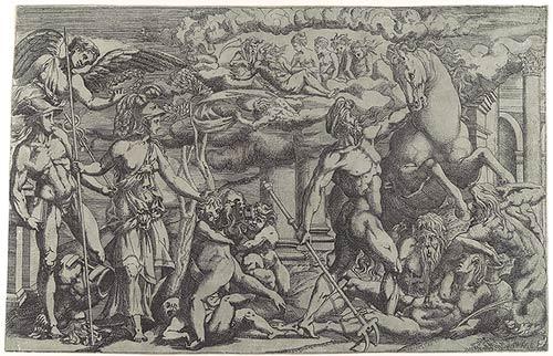 Antonio Fantuzzi, c. 1543, 'The Contest of Athena and Poseidon', from the Metropolitan Museum of Art, New York.