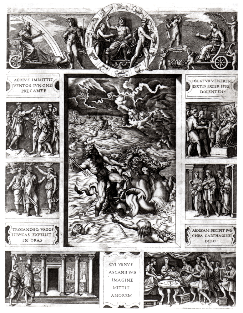 M. Raimondi, 'Neptune Calming the Tempest which Aeolus Raised against Aeneas' Fleet', c. 1515-16, from the Hunterian Collections