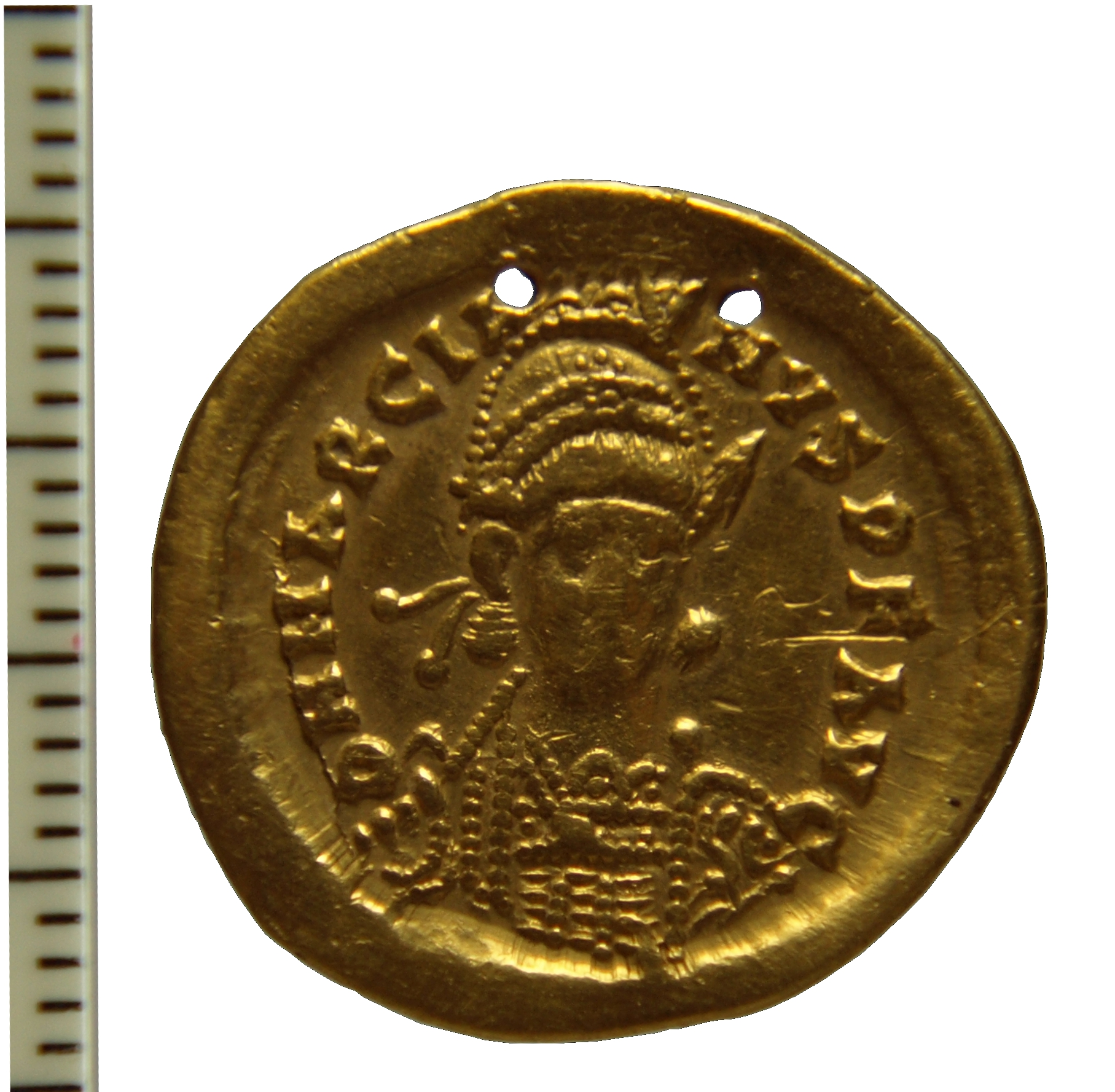 Solidus of the emperor Marcian, found in India, 4.34g,  Madras Government Museum, Darley Catalogue No. 15.