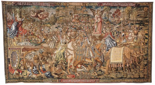 The Triumph of Fame over Death, Tapestry form a Set Triumph of Petrarch, Brussels (?), 1520, Wool, Silk, 439x821 cm, London Victoria and Albert Museum (See the magnifications)