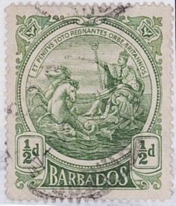 Colony Badge, The British King as Neptun in his Chariot, Barbados Stamp, 1916, (Fragment of a stamp panel), Photo: London, The Warburg Institute (WIA III.99.3.1)